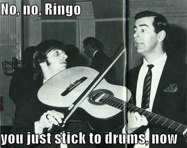 People mistaking the violin/cello/other strings for a guitar: funny    One of them being Ringo Starr of The Beatles: hilarious.