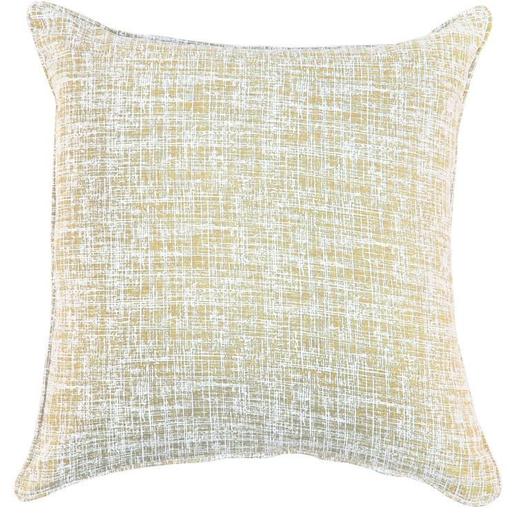 Linen Wheat Distressed Textured Pillow, Yellow, Size 20 x 20