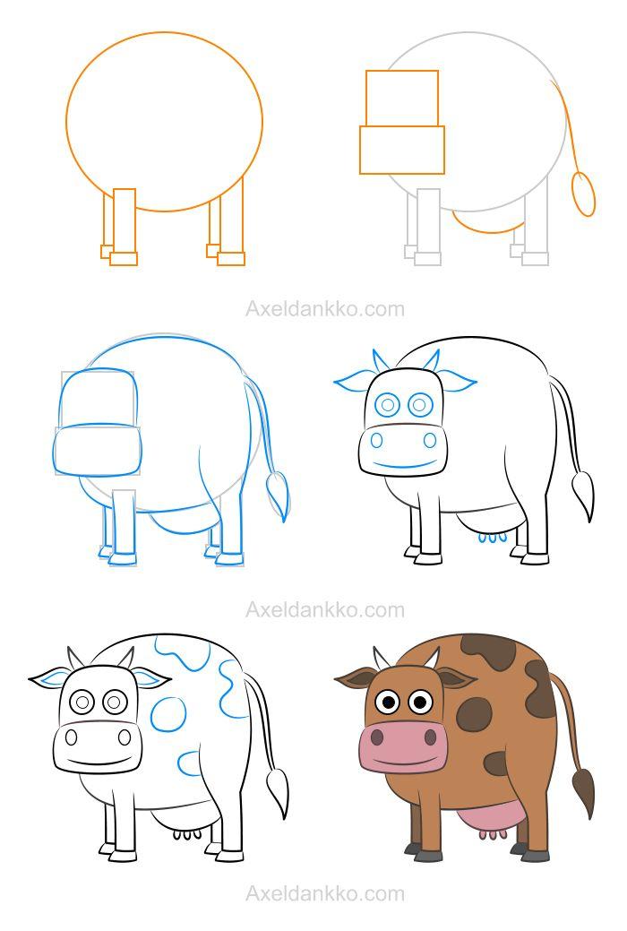 Viac ako 25 najlep ch n padov na pintereste na t mu vache dessin tekenen - Dessiner une vache ...