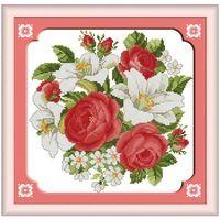 Роза и лилия Шаблоны счетный Вышивка Крестом 11CT 14CT Вышивка Крестом Набор Оптовая Цветок вышивка крестом Комплект для Вышивания Рукоделие