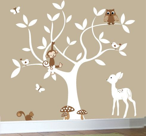 Nursery swirl white tree bird owl leaf leaves squirrel owls home house art decals wall sticker vinyl wall decal stickers baby bed room
