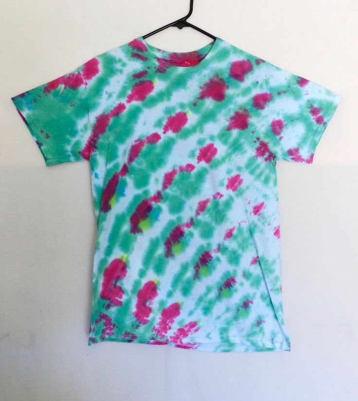 C20 - Adult Medium - M - Tie Dye T-shirt Watermelon pink green stripes pastel goth funky urban dope swag boho hipster trippy psychedelic by 710visuals on Etsy