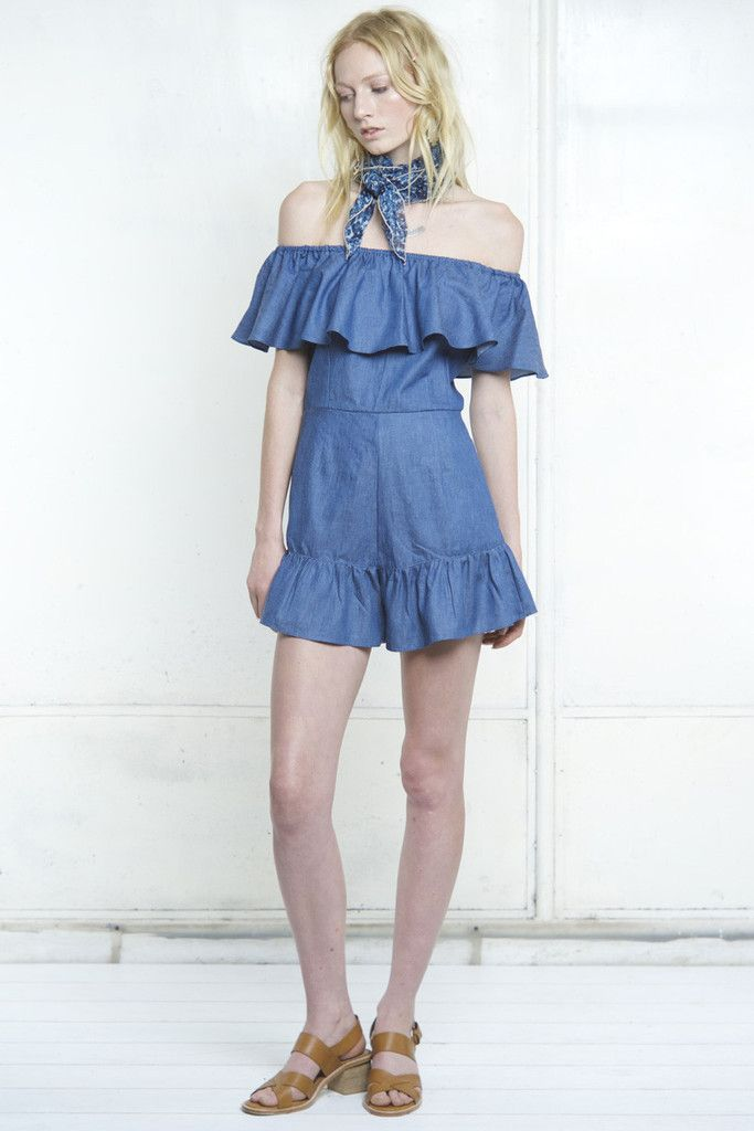 SHAKUHACHI - Genie Off The Shoulder Frill Playsuit