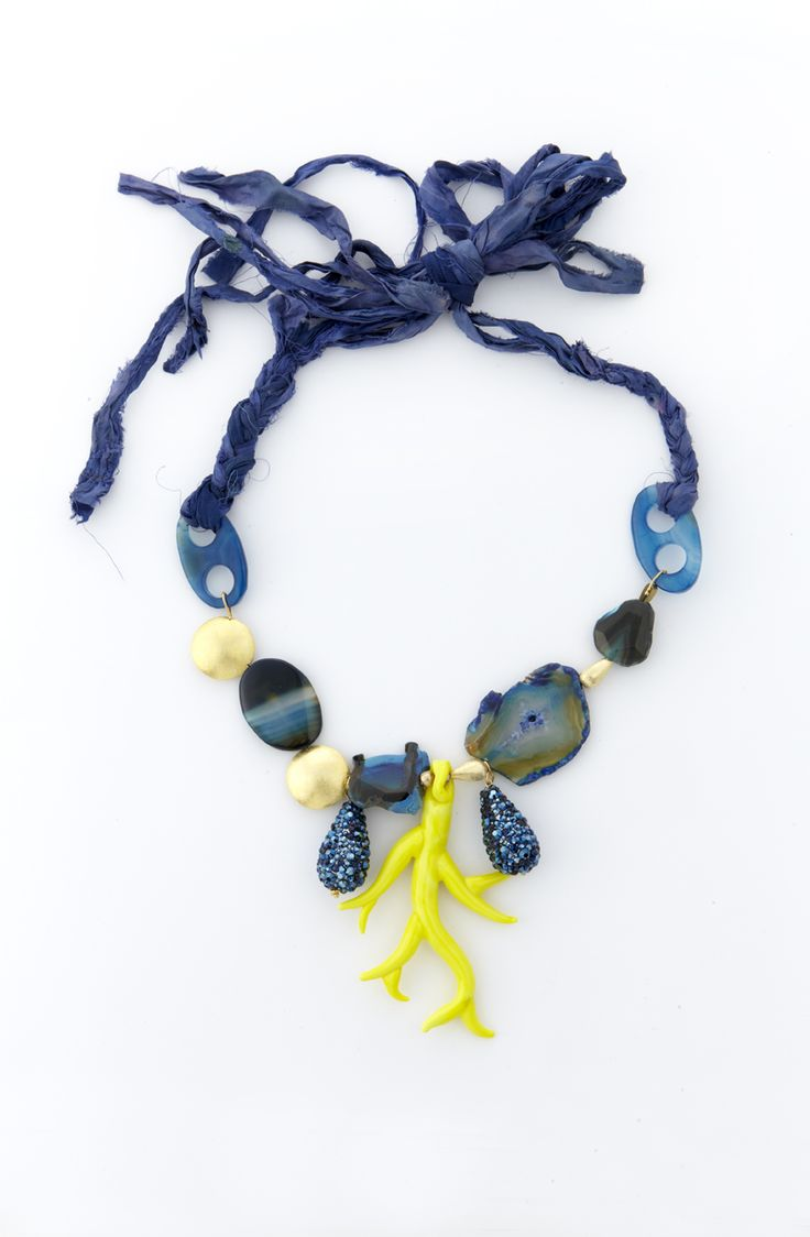 Necklace with blue shangtung silk and yellow coral-shaped murano glass.
