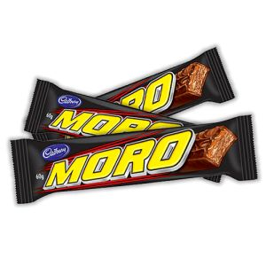 A box of 42 Cadbury Moro bars. A delicious combination of nougat, caramel and Cadbury Milk Chocolate. Each bar weighs 60 grams.