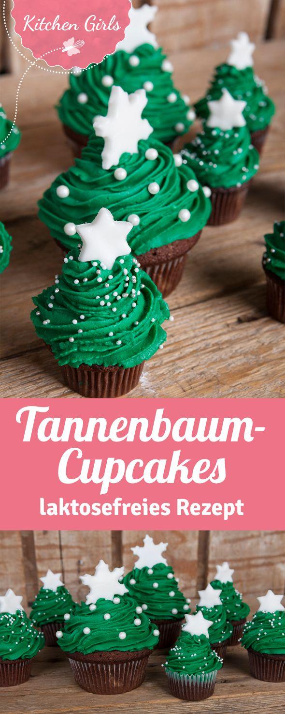 Rezept für laktosefreie Cupcakes in Tannenbaumform. Cupcakes für Weihnachten mit laktosefreier Schokolade.