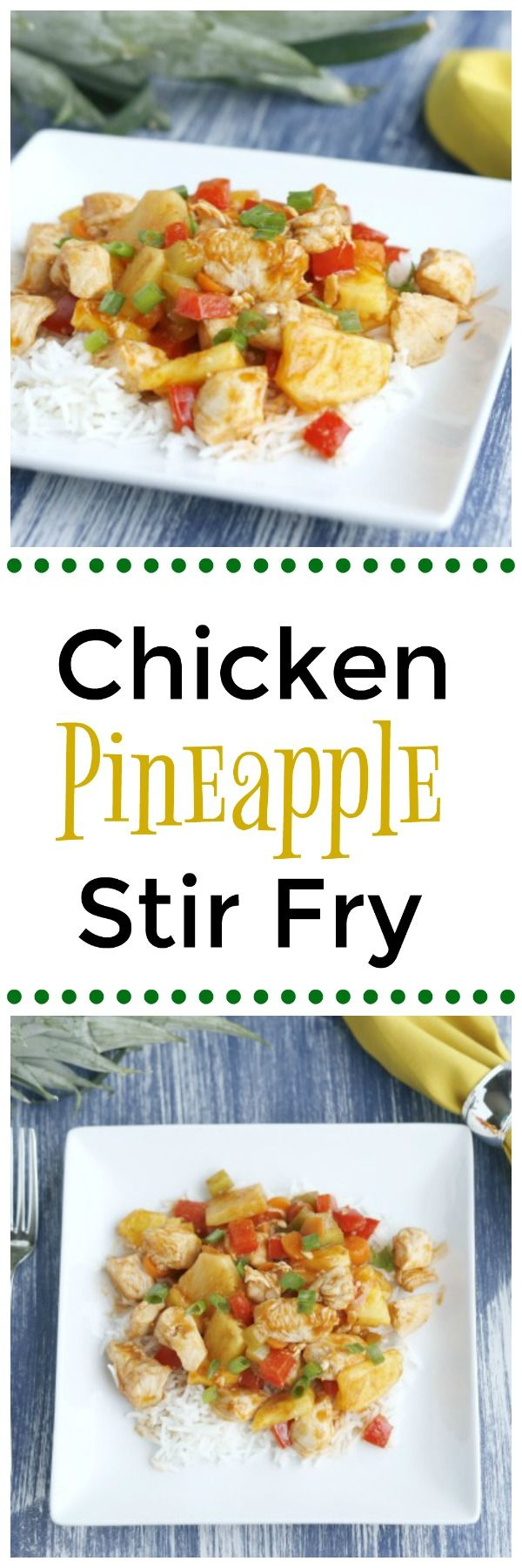 A delicious, simple, and healthy chicken pineapple stir fry! Great to make for the family when you're in a rush. paleo dinner stir fry
