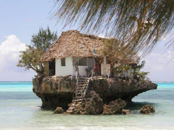 What an awesome place to eat and enjoy the view! I would love to go here!!: Dreams Houses, Dreams Home, Islands Life, The Rocks, Zanzibar Tanzania, Rocks Restaurant, Beachhous, Beaches Houses, Dreamhous