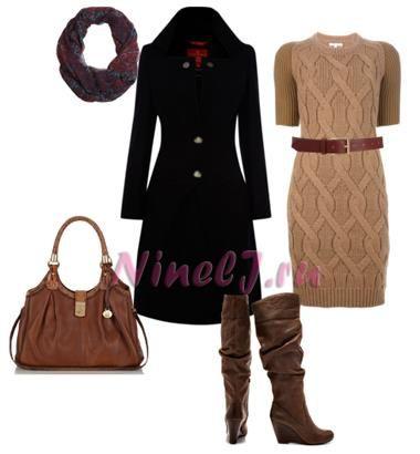 Черное классическое пальто и сапоги к нему