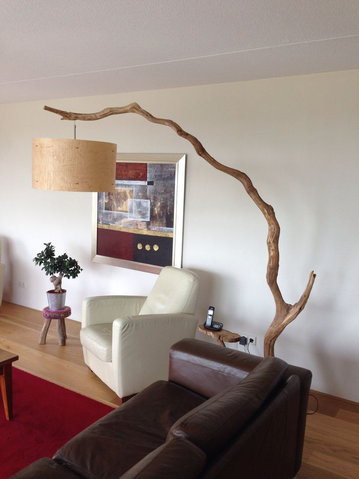 Unique Floor Lamp, Arc Lamp, handmade with real wood veneer lampshade tribe weathered old oak tree. special made by order to NYC. https://www.etsy.com/nl/people/gbhnatureartnl