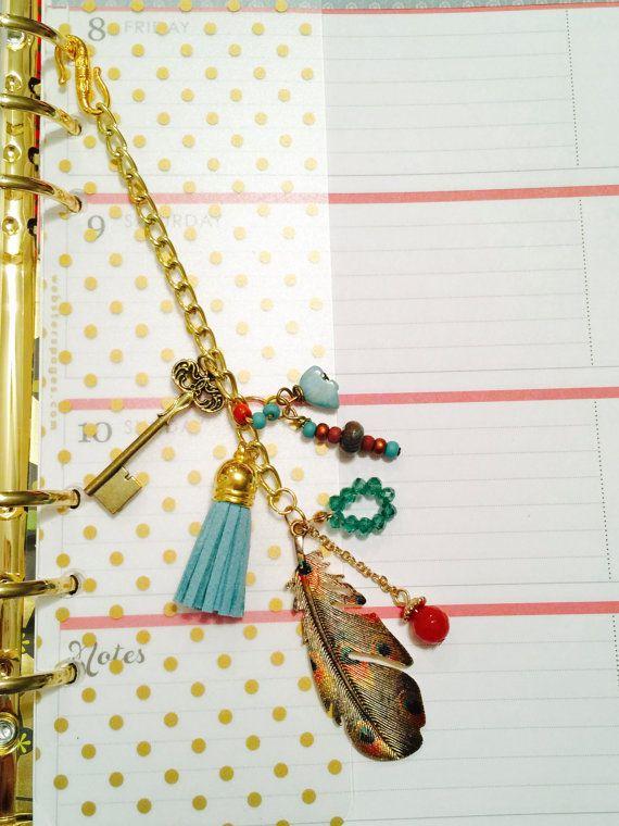 Turquoise & Gold Planner Charm with Tassel, for Erin Condren Life Planner, Happy Planner, Filofax, Plum planner,  Kikki-k