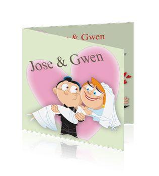 Grappige trouwkaarten of trouwuitnodigingen humor maken. Een fantastische trouwkaart voor de mooiste dag van uw leven.