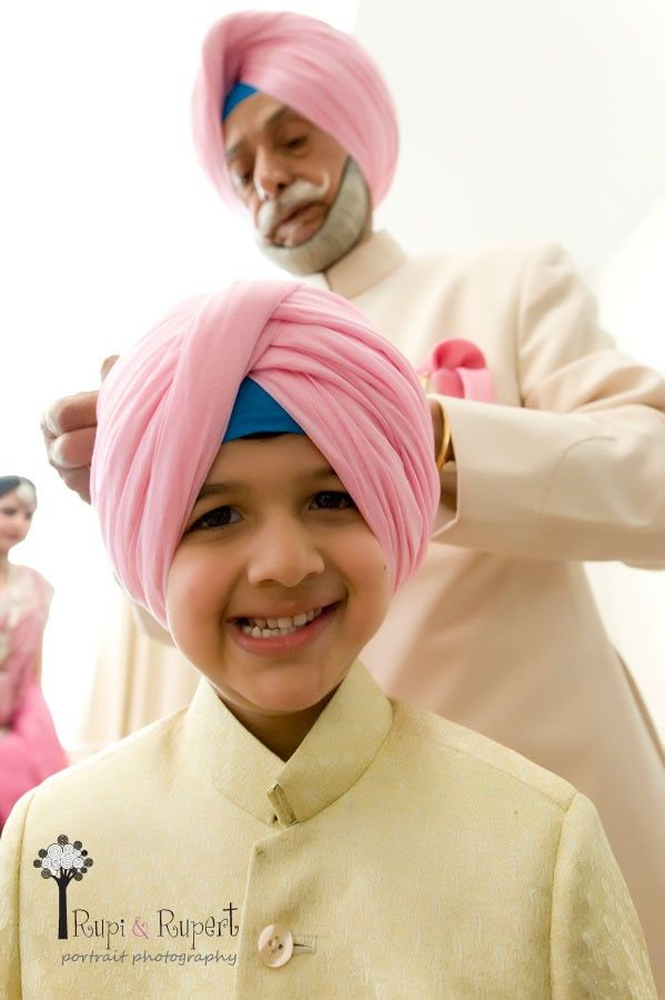 Getting Turban Ready at a Sikh Wedding for the Sarbala -