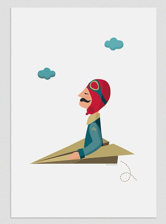 Illustration. The aviator. Print. Wall art. Art decor. Hanging wall. Printed art. Decor home. Gift idea. Bedroom. Sweet home. Tutticonfetti.