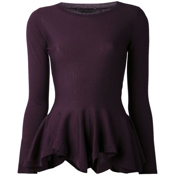 Alexander McQueen Peplum Pullover Sweater (3.575 BRL) ❤ liked on Polyvore featuring tops, sweaters, shirts, blouses, alexander mcqueen, peplum sweater, purple shirt, purple sweater, peplum shirt and long-sleeve peplum top