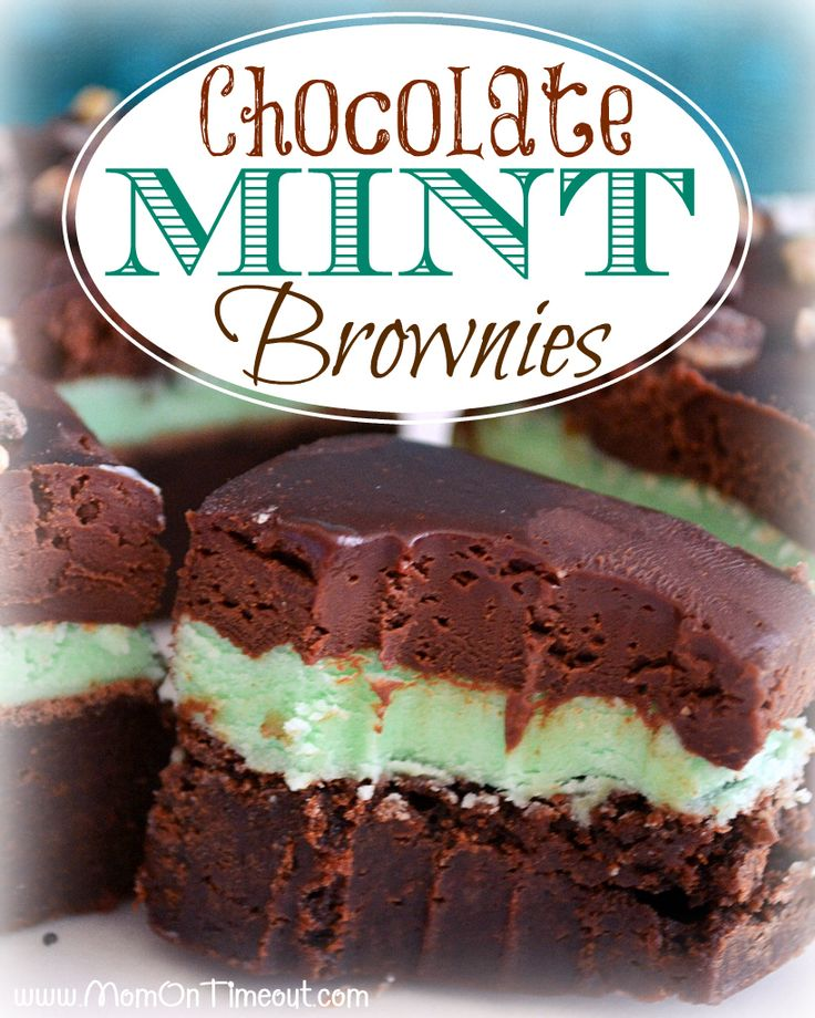 Chocolate Mint Brownies Recipe | MomOnTimeout.com - Decadent Ganache, Mint Filling, and a moist, rich brownie base. The perfect way to add a little green to your diet :) #recipes