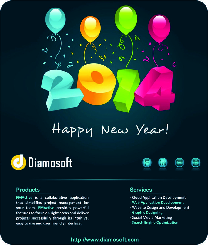 e-greeting card for wishing Happy New Year to clients.