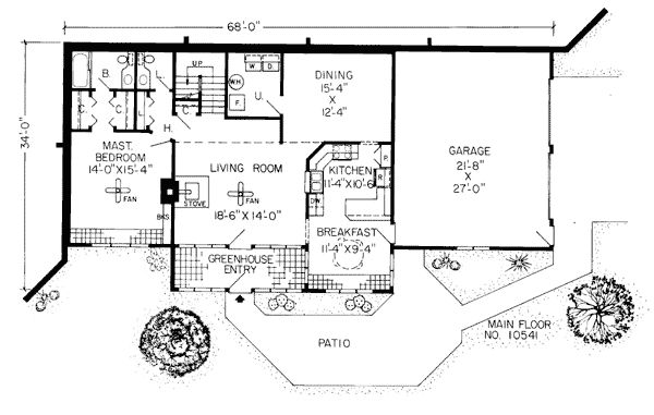 First Floor Plan of Contemporary   Earth Sheltered s Retro   Traditional   House Plan 10541