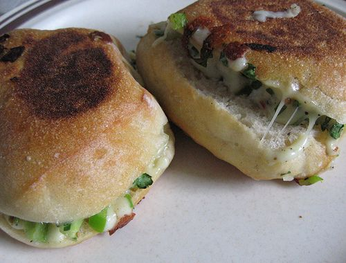 Indian style veggie cheese sandwiches