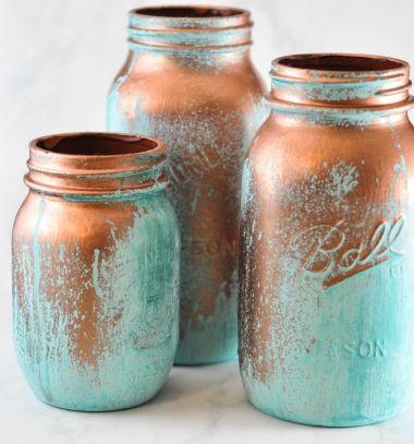 DIY Metallic copper mason jars with blue patina // Patinás réz színű váza befőttes üvegből - rusztikus lakásdekoráció // Mindy - craft tutorial collection