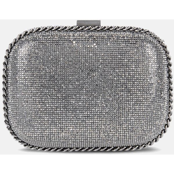 Stella Mccartney Falabella Crystal Stones Clutch Bag ($1,605) ❤ liked on Polyvore featuring bags, handbags, clutches, dark grey, stella mccartney purse, stella mccartney handbags, crystal handbags, crystal clutches and crystal purse