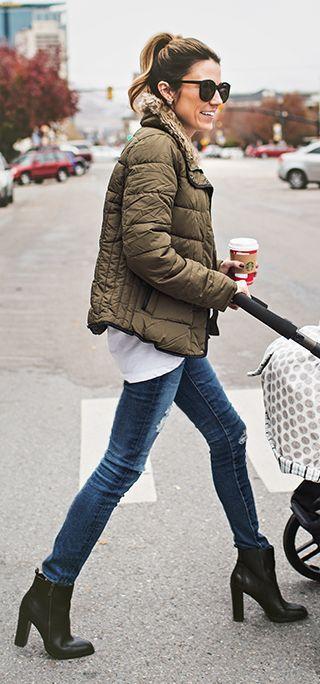 Khaki Puffer Jacket by Hello Fashion
