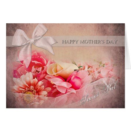 Mother's Day -  Secret Pal - Pink Flowers Card - click/tap to personalize and buy