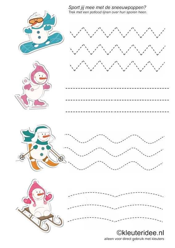Sport mee met de sneeuwpoppen, kleuteridee.nl , schrijfpatroon voor kleuters, free printable.