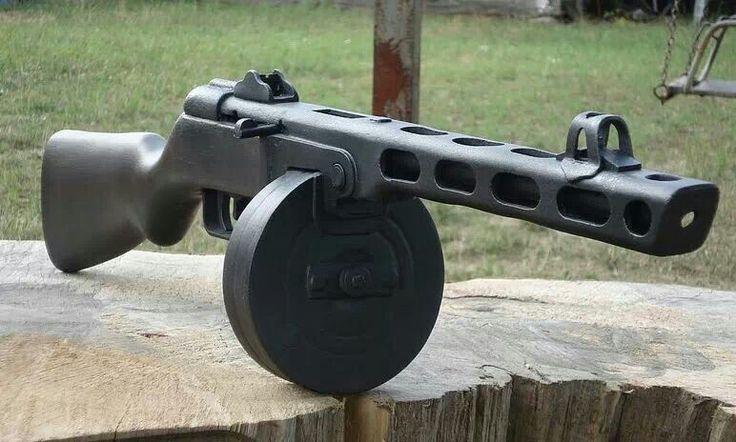 "I found this pinned to a Steampunk board.  It's a Soviet PPSh-41 (Pistolet-Pulemyot Shpagina; Russian: Пистолет-пулемёт Шпагина; ""Shpagin machine pistol,"") a WWII era sub machine gun."