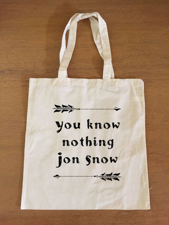 Game of Thrones Tote Bag - Jon Snow - You Know Nothing Jon Snow #got #gameofthrones #jonsnow #youknownothing #geek #etsy #alohomoradesign