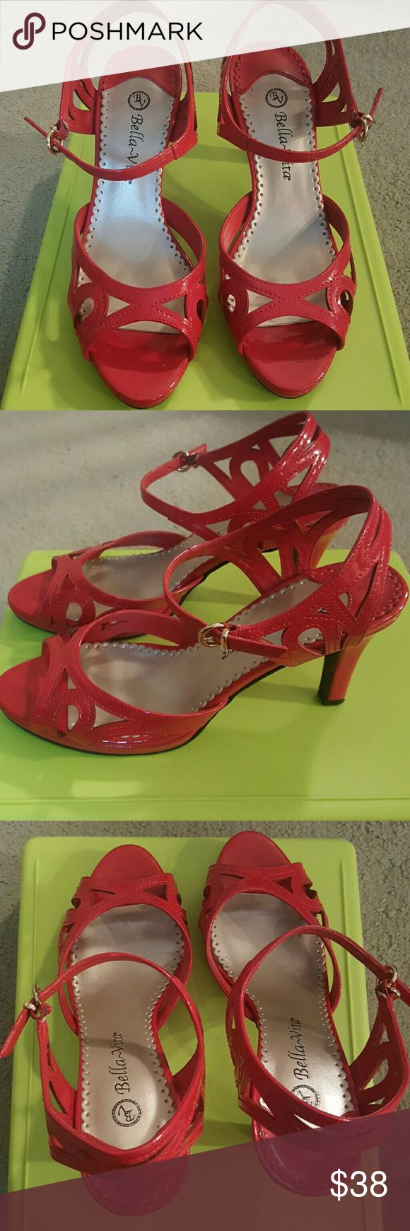 """Bellavita BV powerful fiery red platform sandals Bellavita BV powerful fiery red platform sandals 7/8 inch front platform 3"""" back heel platform  Size 8 In excellent condition  Very comfortable and still sexy ! bellavita Shoes Sandals"""