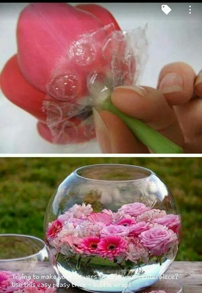 bubble wrap to float fresh flowers on table setting