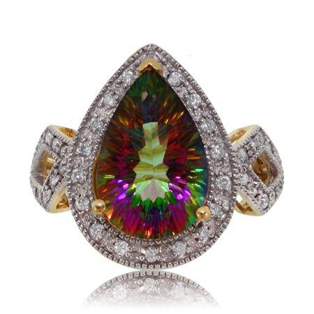 Radiant Cut Mystic Fire Topaz Diamond 14K Yellow Gold Ring. <3