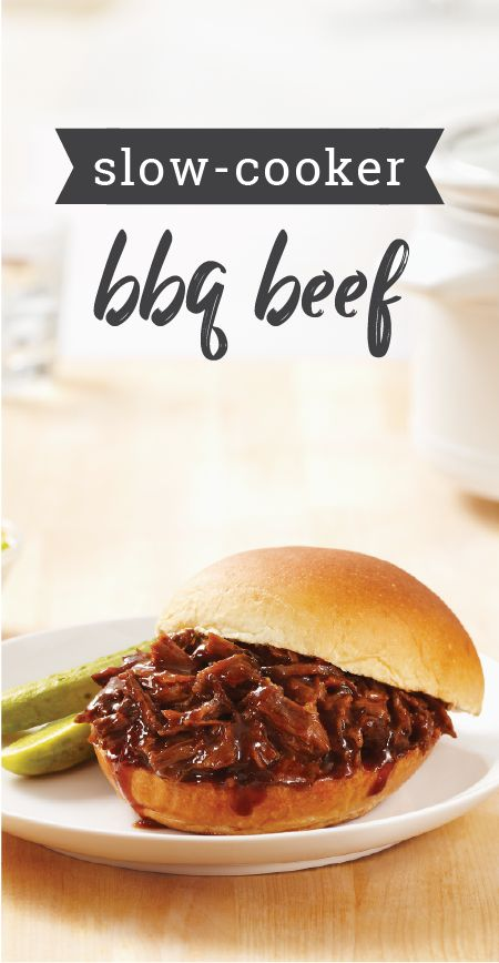 Slow Cooker BBQ Beef – Boneless beef chuck roast gets falling-off-the-bone tender in this easy slow-cooker BBQ dish. Serve on bakery buns and try out this recipe with your summer party guests.
