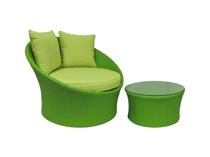 Wicker outdoor chair, Green Grace Chair with ottoman/coffee table.