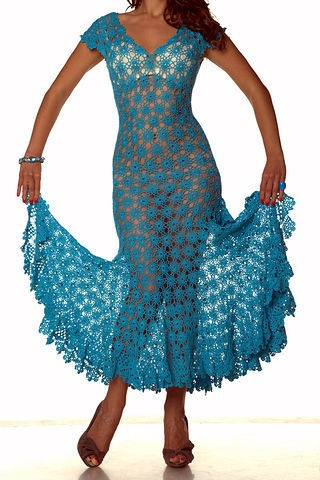 Awesome Blue Dress free crochet graph pattern. Little but lining would make it even appropriate. ;)