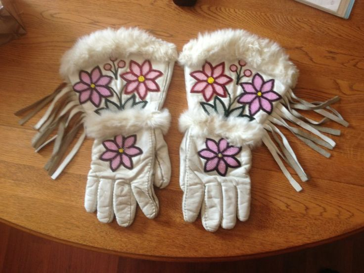 Native gauntlets, womens, indian leather, great beading, great condition 14in