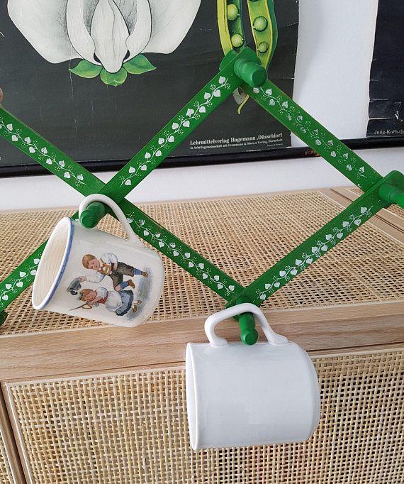 Wandgarderobe Holz Akkordeon Garderobe grün mit