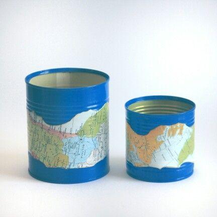 #can #design #painting #map #vase #metal #vintage #blue penholder