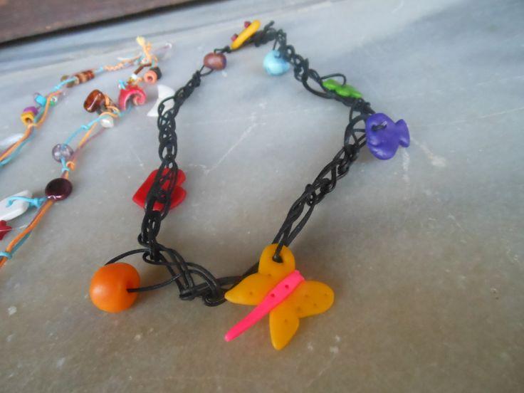 crochet necklace hand made polymer clay beads / κολιέ βελονάκι με χειροπ.χαντρες απο πολυμερικό πηλό