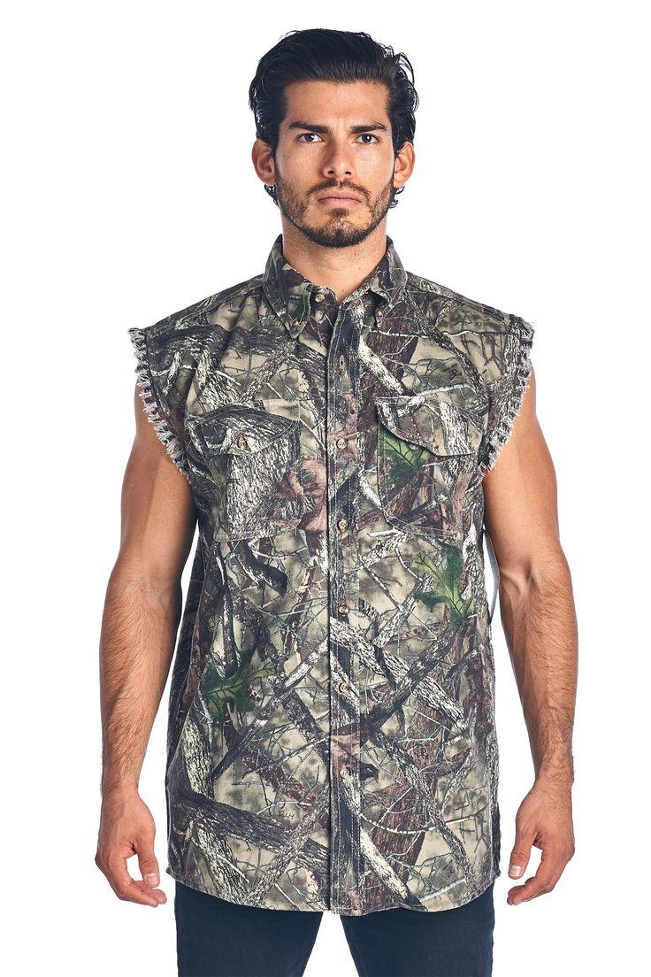 Camo Hunting Sleeveless Denim Shirt Camouflage Authentic True Timber Vest M-6XL