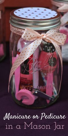 DIY Manicure or Pedicure in a Mason Jar. Makes a great Wedding/Baby Shower game prize/gift. Easy tutorial this idea should only take about 5 minutes.
