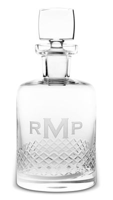 Monogrammed Diamond Cut Whiskey Decanter