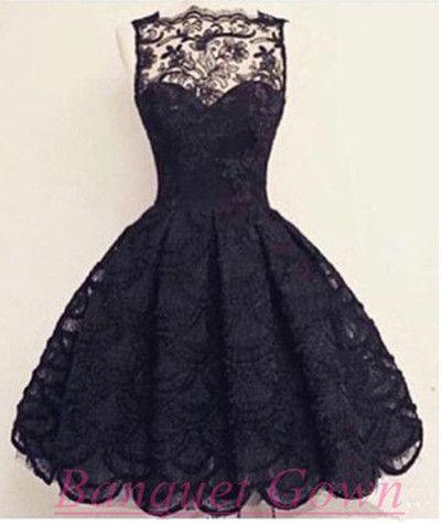 Knee-Length Black Prom Dress,Elegant Homecoming Dress,Lace Homecoming Dress For Teens