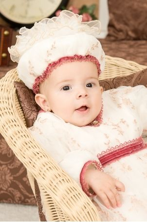 """Cute baby girl bonnet embroidered with pink flowers, perfect match for the """"Anastacia"""" dress.  http://www.petitecoco.ro/shop/en/home/32-anastacia-baby-girl-bonnet.html"""