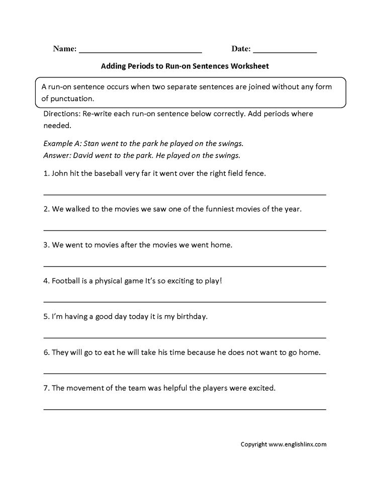 adding periods to run on sentences worksheets board pinterest sentences. Black Bedroom Furniture Sets. Home Design Ideas