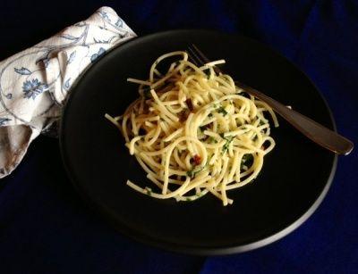"""Spaghetti, hot pepper, garlic, olive oil. An Italian classic! Called """"Spaghetti alla Mezzanote"""", """"Spaghetti aglio olio e peperoncino"""", """"spaghettata di mezzanotte"""", and a few other variations, whichever nomenclature you prefer, it's a great dish all the same!"""