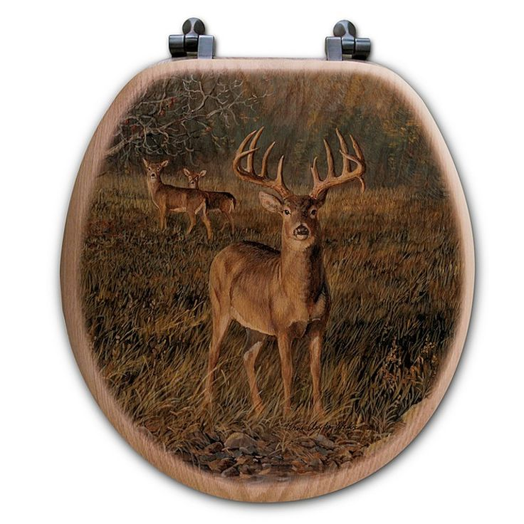 A trophy buck and two does are captured in a grassy clearing near a forest stream on the First Light Deer Toilet Seats. The fade resistant image is directly printed on to a red oak veneer cover. This rustic wood toilet seat has antique brass metal hinges and all hardware is included for easy installation.Made in the USAShipping: 7-10 Business days