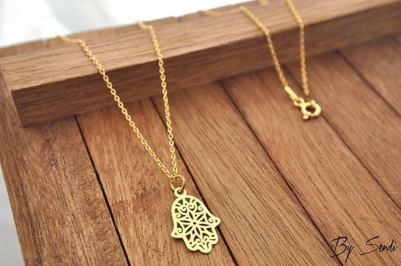 Sterling Silver Hamsa necklace gold-plated, Hamsa necklace, Hamsa pendant…