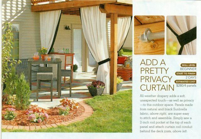 add an outdoor privacy curtain backyard pinterest